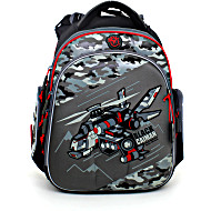 Школьный ранец Hummingbird kids TK36 вертолет серый с мешком для обуви + пенал